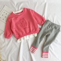 女童秋冬新款2洋气长袖运动儿童卫衣两件套小女孩3岁宝宝加厚套装