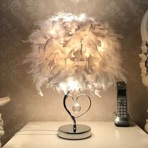 网红灯饰羽毛台灯时尚北欧客厅装饰灯ins少女卧室灯创意床头灯