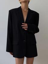 HUYIFAN 黑色西装外套女2021秋冬新款韩版宽松复古休闲显瘦小西服