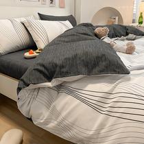 轻奢ins简约纯棉床上用品四件套100全棉北欧风床单三件套被套床笠