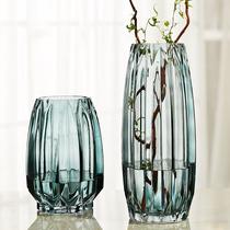 简约竖棱玻璃花瓶创意彩色透明百合花器客厅大号水养插花花瓶摆件