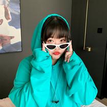 绿毛耶大码卫衣女秋冬装2021年新款胖mm韩版宽松连帽女装外套