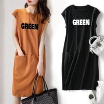 夏季新款短袖女装流行款宽松显瘦字母无袖T恤连衣裙中长款仙女裙