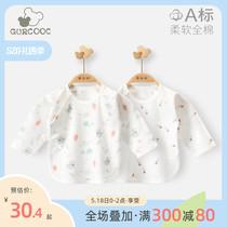 乖奇熊夏季长袖0-6个月新生儿半背衣婴儿上衣薄款宝宝纯棉衣服