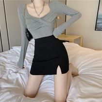 2020秋季新款chic性感半身裙高腰裙子显瘦短裙A字开叉包臀裙女装