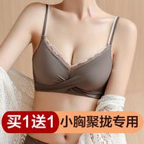 内衣女小胸聚拢无钢圈调整型收副乳防下垂文胸罩套装无痕加厚上托