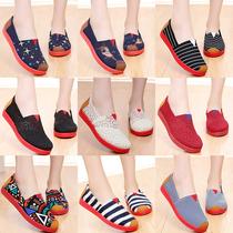 老北京布鞋女懒人一脚蹬平底帆布2021新款春夏中老年人妈妈单鞋子