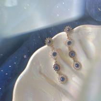 有点蓝 Mojito。复古宫廷精致珍珠宝石长款耳环女太阳花气质耳坠