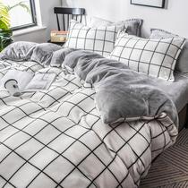 牛奶绒四件套冬季珊瑚绒双面加绒冬天床上三件套法兰绒床单厚被套
