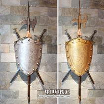 欧式客厅背景墙面装饰壁挂/铁制盾牌佩剑斧头/酒吧网咖啡厅挂饰