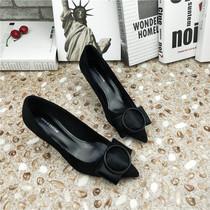 时尚姿彩2020秋季单鞋韩版尖头高跟鞋马毛酒杯跟细跟中跟鞋潮OL