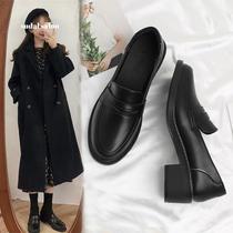 2020秋季新款小皮鞋女英伦中跟粗跟黑色复古乐福鞋单鞋一脚蹬女鞋