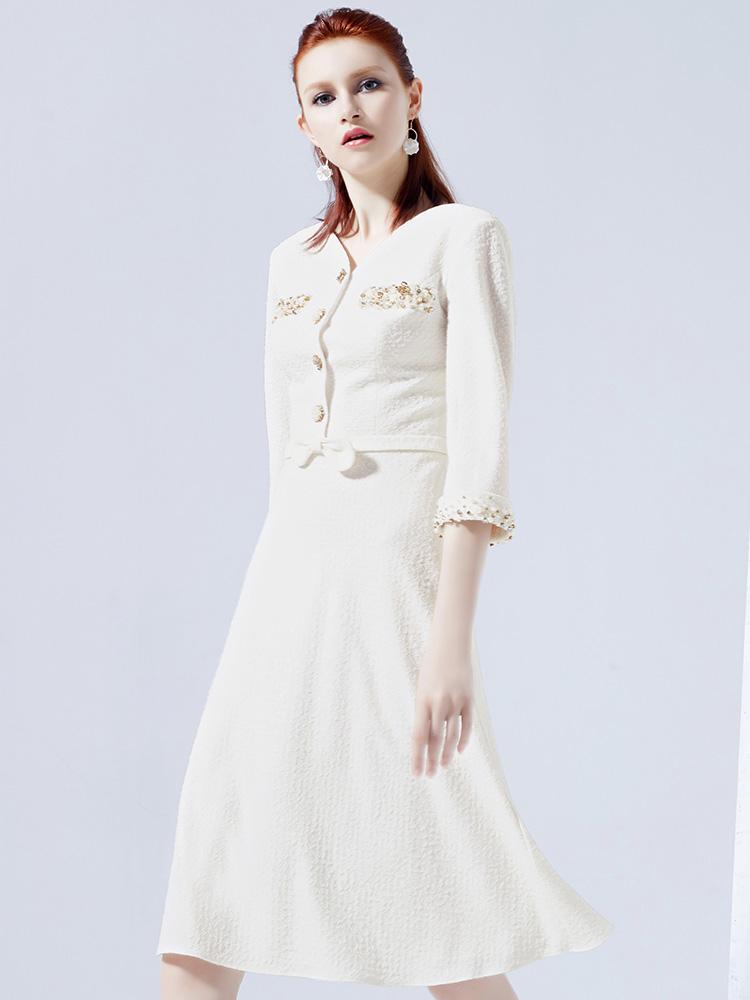思朵禮服裙女2018新款秋冬宴會白色禮服名媛聚會連衣裙洋裝小禮服