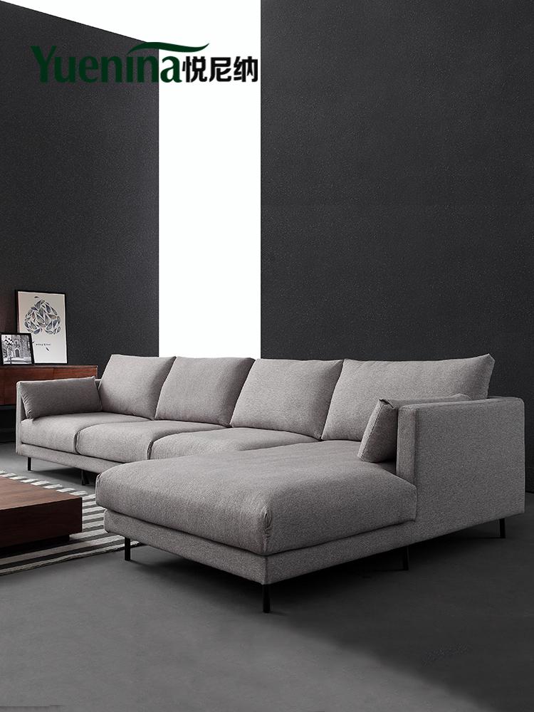 悅尼納 簡約現代布藝沙發 北歐小戶型羽絨布藝沙發可拆洗軟組合