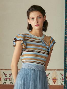MAXRIENY новый летний Gina в этом же моделье круглый вырез полоса кривляние свитер женский с коротким рукавом асимметрия куртка, цена 10916 руб