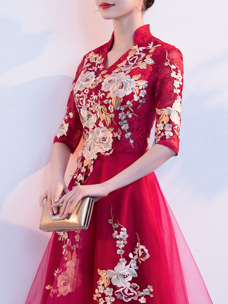 f18cf64c8 Toast clothing bride summer 2019 wedding red Chinese short paragraph small  cheongsam female out of the. Loading zoom