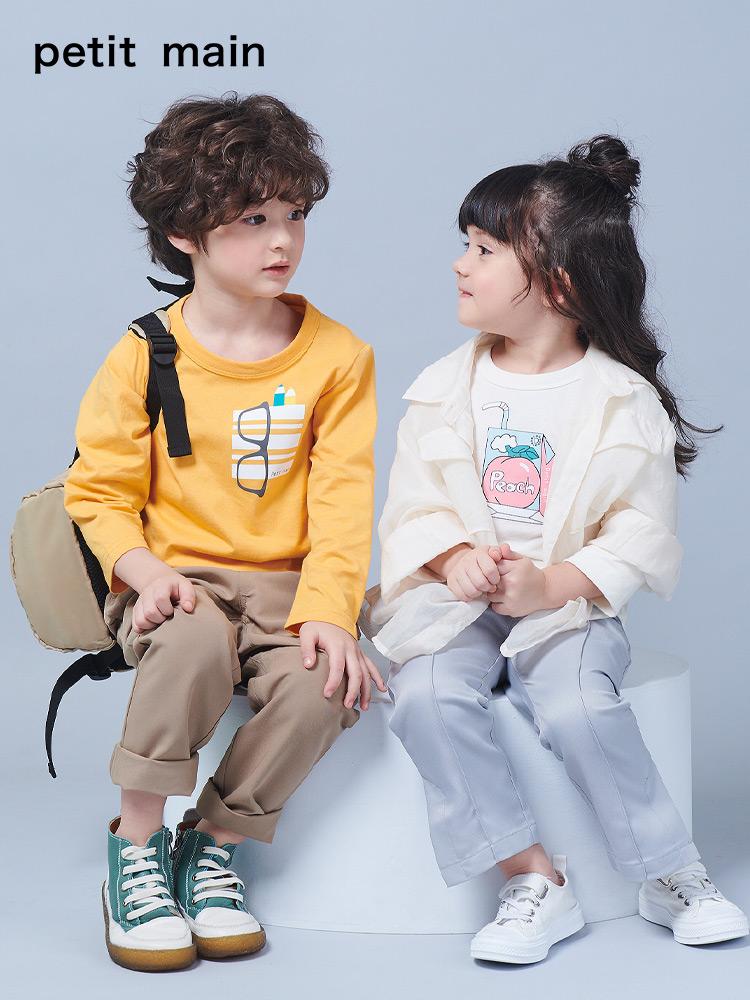 日本 petit main 纯棉 儿童长袖T恤 天猫优惠券折后¥39包邮(¥69-30)男、女童90~140码多款可选
