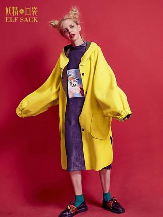 妖精的口袋冬装上衣撞色两面穿 可脱卸印花贴布 插肩灯笼袖呢外套长款女