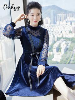 Западный стиль дамы ветер бархат платье мисс 2020 год зимний осенний новинка талия была тонкий в горошек сращивание темперамент, цена 4213 руб