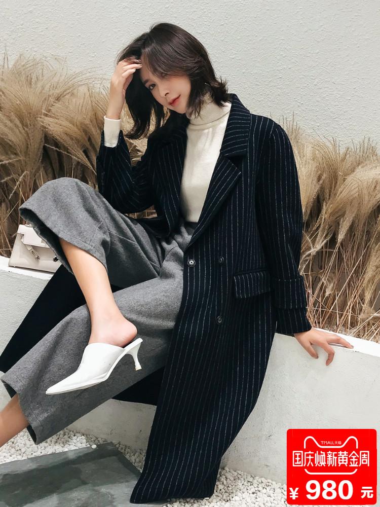 2018秋冬新款阿爾巴卡雙面呢大衣女裝長款羊絨毛呢外套修身豎條紋