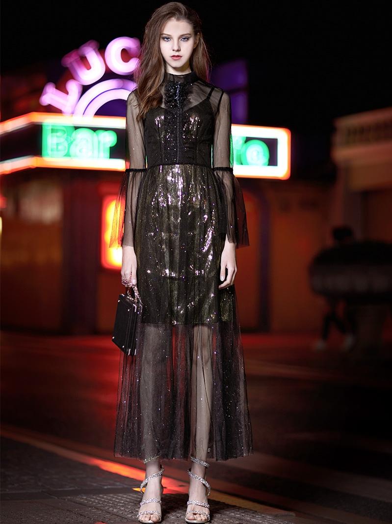 晚禮服女新款晚宴禮服高貴中長款黑色名媛聚會兩件套連衣裙秋7451