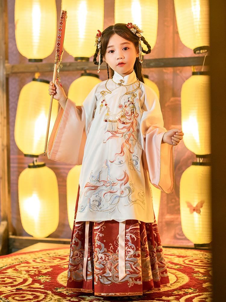 CHULI original improved girls' Hanfu, cinnabar Hanfu, parent-child costume for Spring and Autumn period