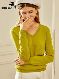 Братья новый осень мода западный стиль V воротник шерсть свитер длинный рукав свитер свитер мисс A300524, цена 3190 руб