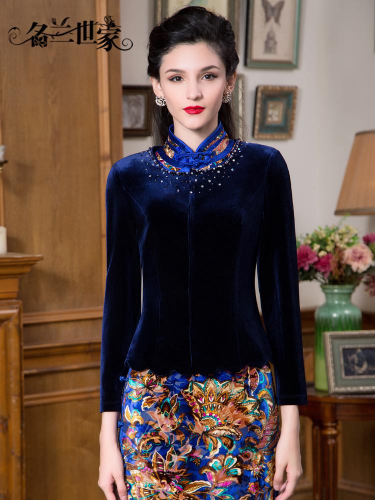 名蘭世家208秋冬季新品純色修身短外套女釘珠金絲絨長袖上衣