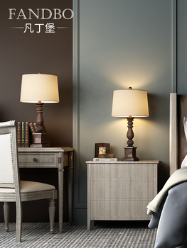 Настольные лампы,  Все звон форт американский настольные лампы спальня прикроватный свет страна ретро чистый красный континентальный тумбочка свет творческий гостиная романтический, цена 2664 руб