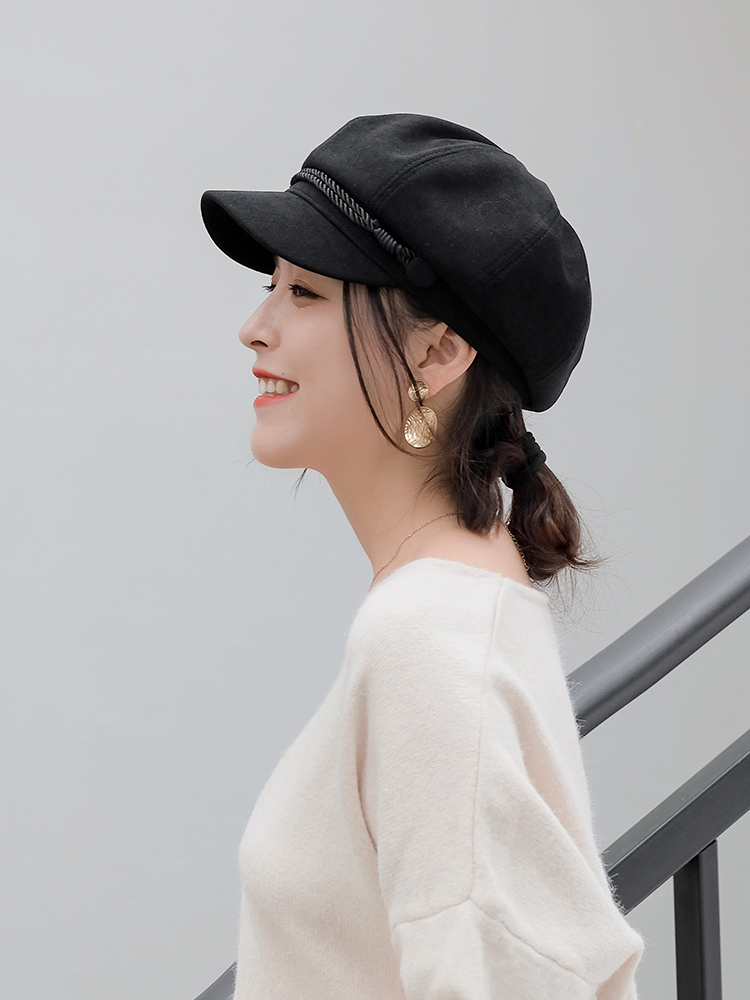Beley hat female British retro autumn and winter Korean version of the trendy octagonal hat wild student Japanese net red bud hat