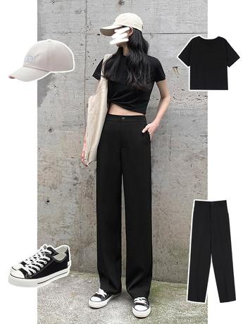 | Цена 758 руб | Широкий брюки женщина лето талия драпировка тонкий черный дикий костюм брюки прямо свободный торможение земля брюки тонкая модель