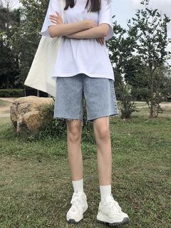 Пятый джинсы женщина 2020 метров брюки лето свободный прямо порт вкус талия тонкий шорты 5 филиал волна, цена 858 руб