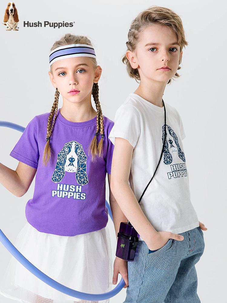 Hush Puppies 暇步士 19年夏季新款 纯棉 中大儿童短袖T恤 天猫优惠券折后¥66包邮(¥96-30)男、女童105~170码多色可选
