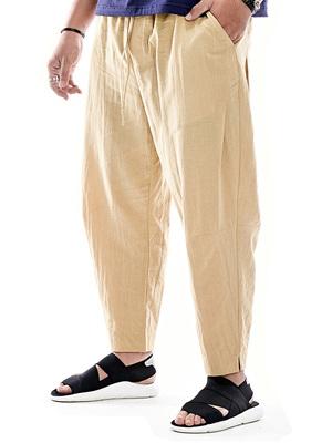 Nửa mực mùa hè quần cotton nam lỏng chất béo cộng với phân bón tăng linen chín quần mỏng kích thước lớn nam quần âu quần âu Crop Jeans