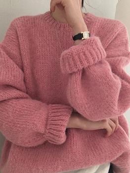 Зажимы для галстуков,  Розовая шерсть женская одежда 2020 новый осенью и зимой свободный верхняя одежда сгущаться корейская мода издание небрежный ленивый ветер хеджирование шерстяной одежда, цена 1896 руб