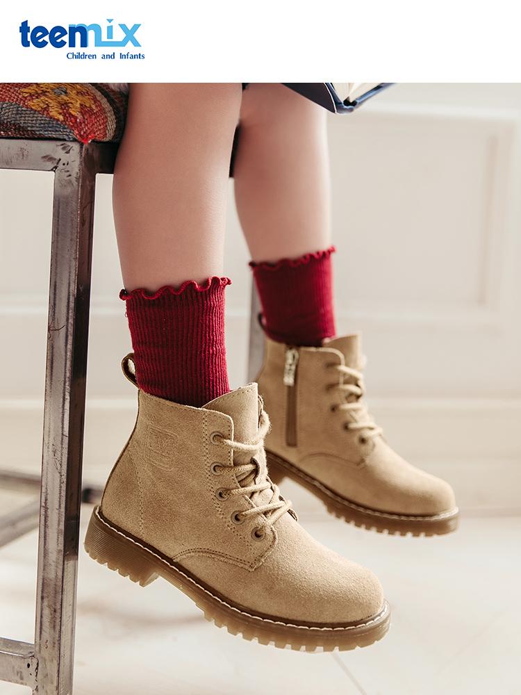 天美意 21年秋冬款 加绒保暖 儿童马丁靴 双重优惠折后¥159包邮 男、女童26~37码多色可选