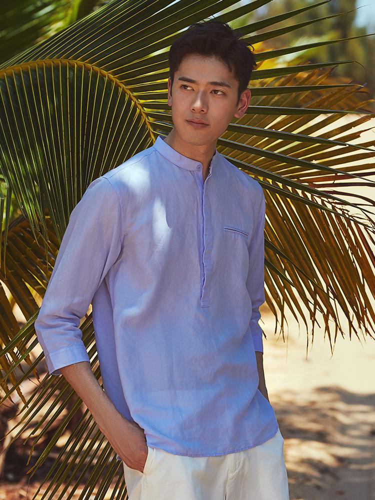 Maxwin 马威 19年春季新款 男式七分袖纯色亚麻衬衫 天猫优惠券折后¥99包邮(¥129-30)4色可选