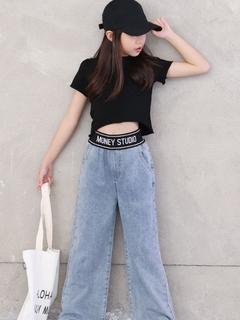 Девочки джинсы осень и зима широкий брюки ребенок плюс бархат западный стиль установите корейский в больших детей девушка свободный прямо волна, цена 992 руб