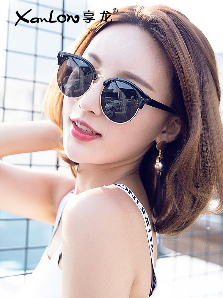 2018 new polarized sunglasses nữ triều tròn mặt kính mát nữ Hàn Quốc phiên bản của thủy triều retro Harajuku phong cách gm kính 2017