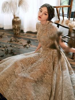 Праздник может невеста ночь платья женщина 2020 новый темперамент господь держать высокий человек конец французский выйти замуж платья юбка продвинутый текстура, цена 8207 руб