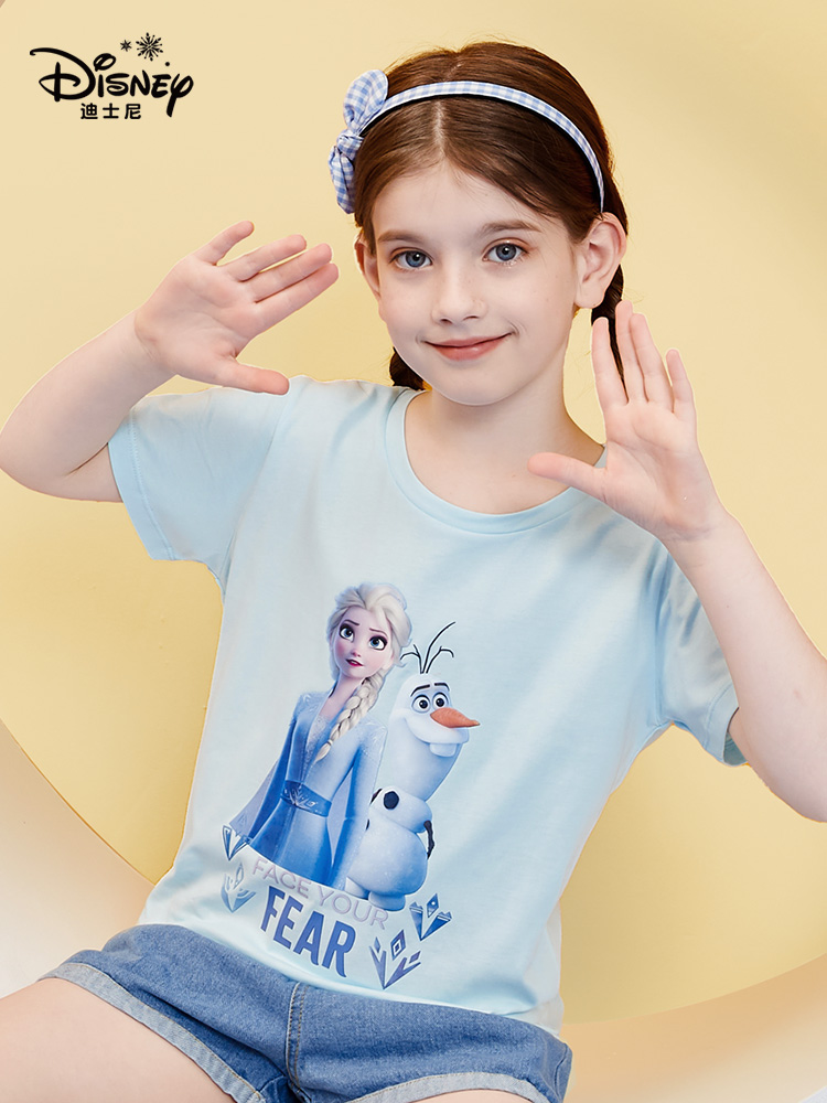 Disney 迪士尼 21年夏季新款 冰雪奇缘系列 女童短袖T恤 天猫优惠券折后¥19包邮(¥59-40)110~150码多色可选