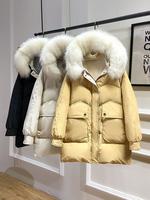 2019 новый зима корейская версия восток дверь пуховик женщина фасон средней длины стиль большой меховой воротник популярный нетто красный Выброс стиль тонкий куртка волна