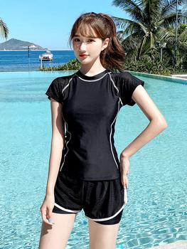 Купальный костюм женщина страхование охрана студент два рукава очень прямо плавать одежда тонкий накройте живот 2020 новый спа плавание наряд, цена 866 руб