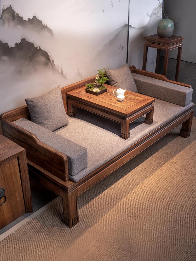 新中式羅漢床榻三件套現代簡約禪意家具老榆木實木沙發床客廳組合