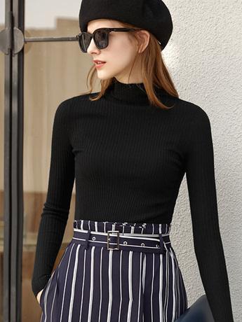   Цена 7939 руб   Amii новый версия женский осень-зима овечья шерсть Рубашка 2020 половина высокая Женский воротник свитер приталенный стрелка Вязаная облегающая рубашка-дно в западном стиле