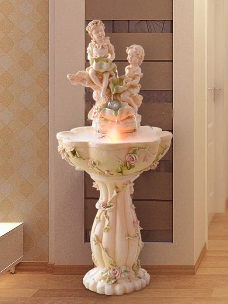 歐式落地噴泉流水水景擺設招財風水輪天使養魚池客廳擺件結婚禮物
