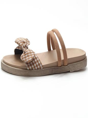   Цена 543 руб   Сандалии женщина лето 2020 новый корейский бант износ песчаный пляж прохладно торможение квартира женщина ветер ретро студент обувь женская