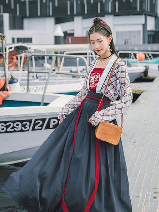 42agent Han Shanghua Lotus 传统安 Traditional Hanfu Women's 襟襦 skirt suit daily wild models printing Chinese style spring and summer clothes-tmall.com Tmall