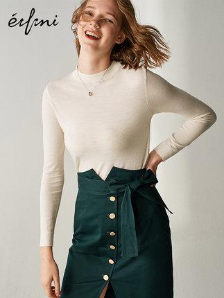 伊芙丽羊毛衫2019新韩版春装长袖女装100%羊毛针织衫