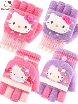 Перчатки, варежки,  Hello kitty девочки перчатки ребенок пальцы грейферный тепло зимой вязание милый маленький ребенок студент младенец ребенок половина пальца, цена 390 руб